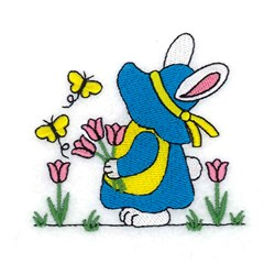 Bunny with Tulips embroidery design