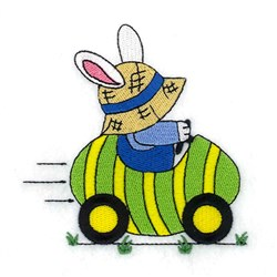 Bunny Driving Easter Egg embroidery design