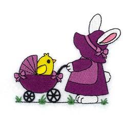 Bunny With Stroller embroidery design