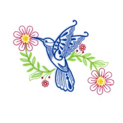 Hummingbird Daisy embroidery design