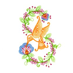 Flower Hummingbird embroidery design