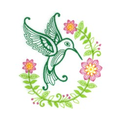 Green Hummingbird embroidery design