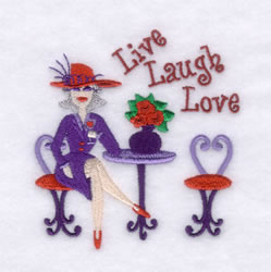 Red Hat Live Laugh Love embroidery design