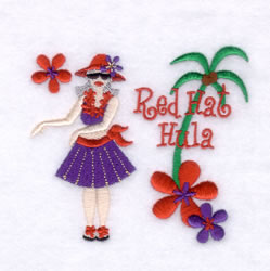 Red Hat Hula embroidery design
