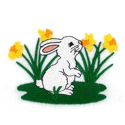 Bunny with Daffodils embroidery design
