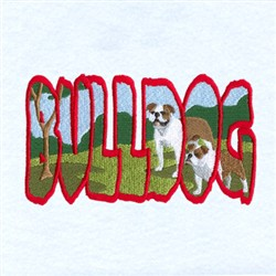Bulldog Scene embroidery design