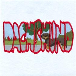 Dachshund Scene embroidery design