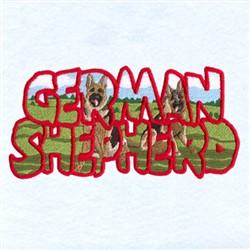 German Shepherd Scene embroidery design