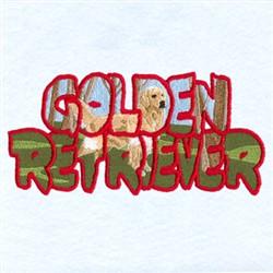 Golden Retriever Scene embroidery design