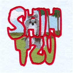 Shih Tzu Scene embroidery design