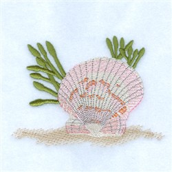 Calico Scallop Seashell embroidery design