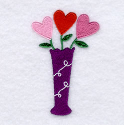Flower Hearts in Vase embroidery design