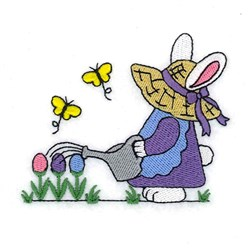 Bunny Watering Eggs embroidery design