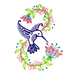 Hummingbird Blooms embroidery design