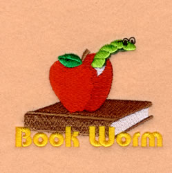 Book Worm embroidery design