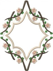 Plum Branch Frame embroidery design