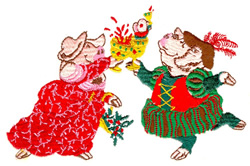 Christmas Pigs embroidery design