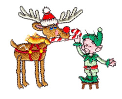 Rudolph & Elf embroidery design