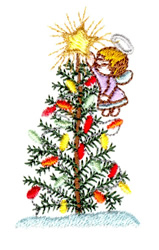 Angel and Christmas Tree embroidery design