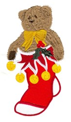 Teddy In Stocking embroidery design