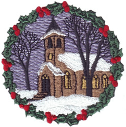 Holly Wreath Church embroidery design