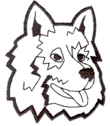 Wolf Head Outline embroidery design