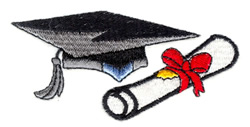 Academic Cap and Scroll embroidery design
