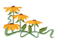 Large Daisy Corner embroidery design