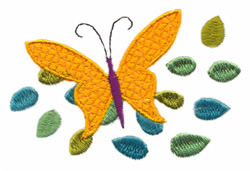 Butterfly With Leaves embroidery design
