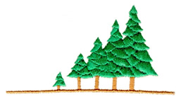 Sloping Treescape embroidery design