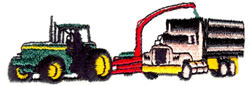 Tractor and Grain Truck embroidery design