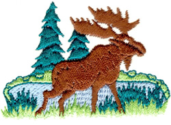 Moose in the Woods embroidery design