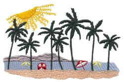 Tropical Beach Scene embroidery design