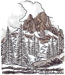 Alpine Landscape embroidery design
