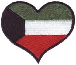 Kuwait Flag Heart embroidery design