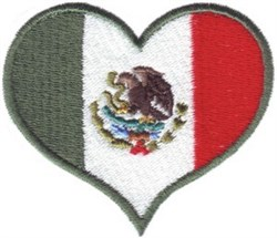 Mexico Flag Heart embroidery design