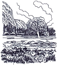 Mountain Meadow Landscape embroidery design