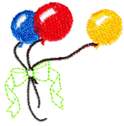 Balloons and Ribbon embroidery design