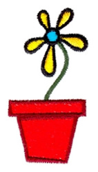 Single Flower in Pot embroidery design