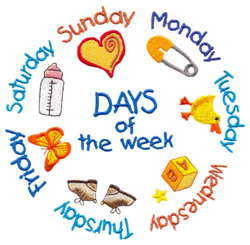 Days of the Week embroidery design