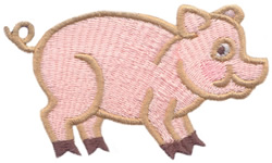 P for Pig embroidery design
