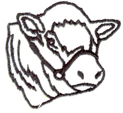 Cow Head Outline embroidery design