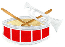 Horn and Drum embroidery design