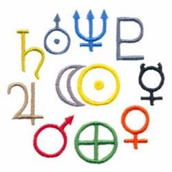 Planet Symbols embroidery design