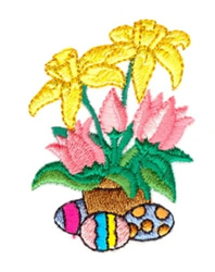Easter Flowers and Eggs embroidery design