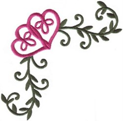 Double Heart Corner embroidery design