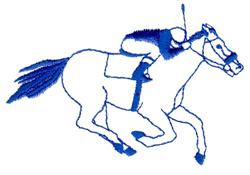 Racing Horse with Jockey embroidery design