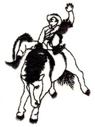 Bronco Rider Outline embroidery design