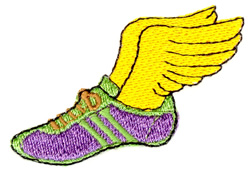 Winged Track Shoe embroidery design