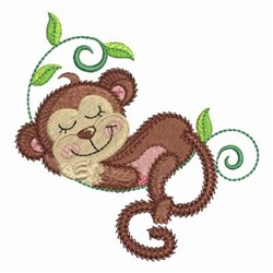"""/""""Hang In There/"""" Monkey Design// Iron On Embroidered Applique//Animals Words"""